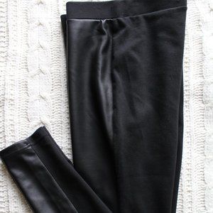 Faux Leather Front And Cotton Back Leggings